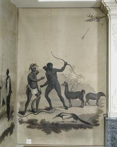 Zuid-Amerikaanse Indianen (Peruanen?) met een lama, een tapir en een miereneter
