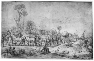 Landschap met een stoet paarden en volk