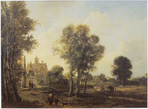 Landschap met oude vrouw en kind met een hond, op een weg naar een landhuis