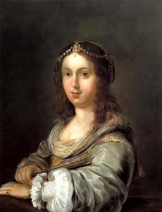 Portret van een jonge vrouw in fantasiekostuum