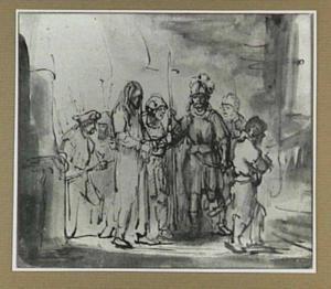Christus voor Kajafas geleid (Mattheus 26:57)