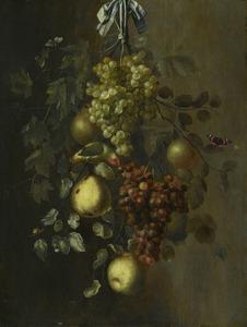 Festoen van vruchten, met insecten en een vogel
