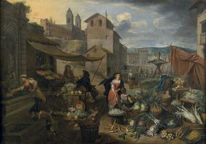 Groente- en fruitmarkt met op de achtergrond de Tinità dei Monti te Rome