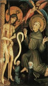 Christus als man van smarten met de stigmatisatie van de H. Franciscus en twee stichters