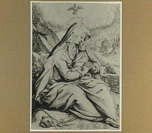 Zittende Maria met kind tijdens de vlucht naar Egypte