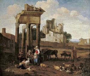 Zuidelijk landschap met herders bij een klassieke ruïne