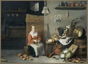 Interieur met appel schillende vrouw naast een stilleven van vaatwerk en etenswaren