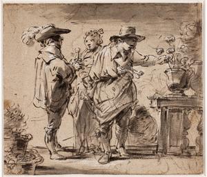Twee jonge mannen bieden een jonge vrouw bloemen aan