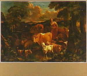 Zuidelijk landschap met herderin en haar dieren bij een doorwaadbare plaats