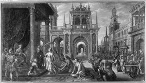 Paleisinterieur met de koningin van Seba komt voor Salomo met een talrijk gevolg, die vele geschenken  brengt (1 Koningen 10:1-2;2 Kronieken 9:1-2)