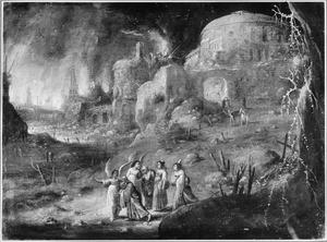 Lot en de zijnen verlaten Sodom, tot spoed gemaand door engelen. Op de achtergrond de ondergang van Sodom en Gomorra  (Genesis 19:24-29)