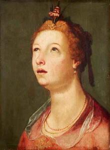 Portret van een opkijkende vrouw 'à l 'antique'