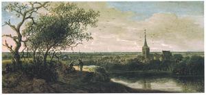 Rivierlandschap met kerkgebouw (Voorschoten ?)