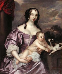 Dubbelportret van Veronica van Aerssen van Sommelsdijk (1633-1701) met een kind, waarschijnlijk Charles Bruce (1660-1680)