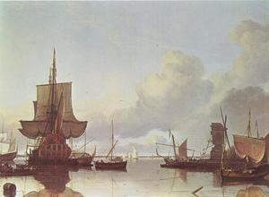 Haveningang van het IJ ter hoogte van het Blauwhoofd met verschillende schepen waaronder 'De Gouden Leeuw'