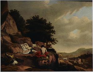 Berglandschap met Jupiter als kind op de berg Ida, met de geit Amalthea (Fasti 5:121-124)