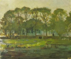 Farmhouse along the water shielded by arch of trees II
