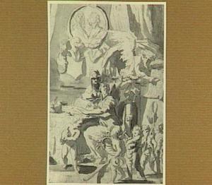 Aan tafel zittende en schrijvende, met lauwerenkroon getooide vrouw, omringd door de personifacties van de Voorzichtigheid en de Tijd; erboven een medaillon met twee  portretbustes; onder een optocht met putti