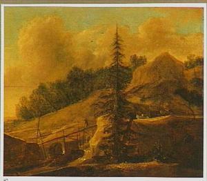 Berglandschap met denneboom en brug