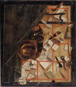 Trompe l'oeil van een brievenbord met de instrumenten van een barbier-chirurgijn