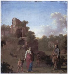 Landschap met de wegzending van Hagar en Ismaël (Genesis 21:16-21)