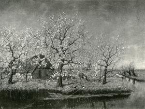 Landschap met boerderij en bloesembomen