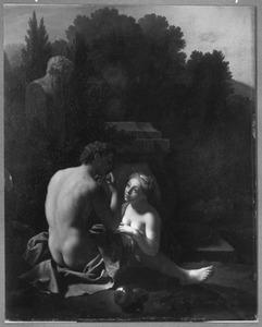 Daphnis en Chloë in een arcadisch landschap