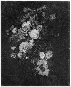 Festoen van bloemen en vruchten aan een blauw lint