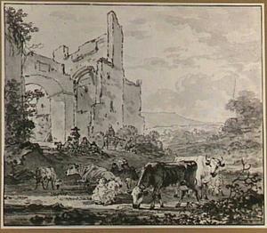 Herders en vee bij een ruïne