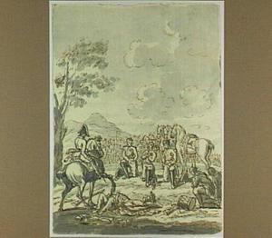 Soldaten knielend tegenover een veldheer, na een veldslag (overgave?)
