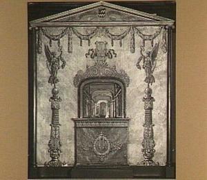 Interieur van een hofzaal (decor voor een miniatuurtheater), ingelijst in een architecturale omlijsting