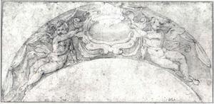 Cartouche geflankeerd door twee engeltjes