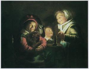 Drie kinderen en een hond bij kaarslicht