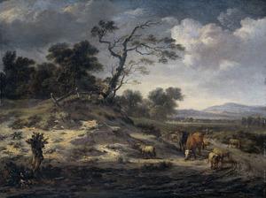 Landschap met vee op een landweg