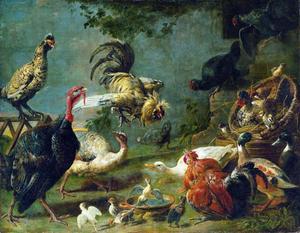 Hoenderhof met kalkoenen, kippen, eenden en twee vechtende hanen