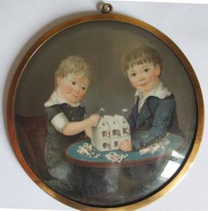 Dubbelportret van twee kinderen Van Loon, waarschijnlijk Willem van Loon (1794-1847) en een neefje