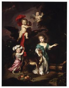 Groepsportret van onbekende kinderen als mythologische figuren waaronder de godin Diana en Ganymedes