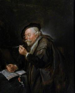 Oude man met een pen en een mes