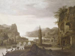 Bergachtig rivierlandschap met vissersboten en ruïnes