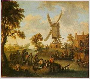 Rivierlandschap met losplaats voor schepen; op de achtergrond een molen
