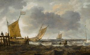 Zeilschepen bij een steiger