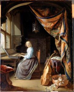 Jonge vrouw aan een klavichord