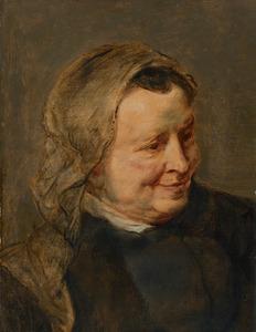 Studie van een kop van een glichlachende oudere vrouw