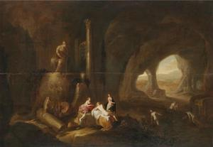 Nimfen in een grot met antieke ruïnes