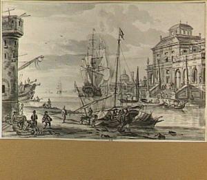 Capriccio van een haven aan de Middellandse zee