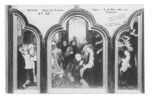 De besnijdenis (links), de aanbidding van de Wijzen (midden), de vlucht naar Egypte (rechts)