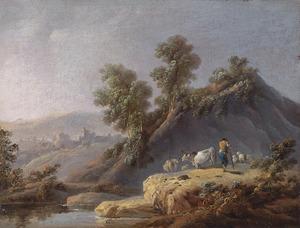 Landschap met herder en vee bij een beek