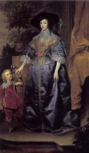 Portret van Henriëtta Maria de Bourbon (1609-1669), koningin van Engeland met Sir Jeffrey Hudson (?-?)