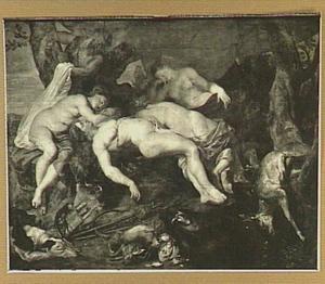 Slapende gezellinnen van Diana door saters bespied