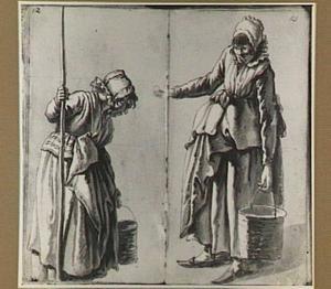 Twee studies van een vrouw met een emmer